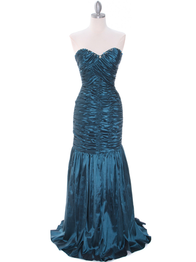 8040 Teal Prom Gown - Teal, Front View Medium