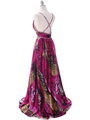 8042 Fuschia Printed Evening Dress - Fuschia Printed, Back View Thumbnail