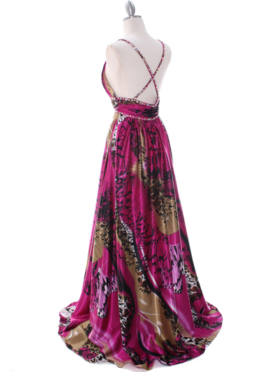 8042 Fuschia Printed Evening Dress - Fuschia Printed, Back View Medium