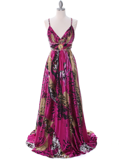 8042 Fuschia Printed Evening Dress - Fuschia Printed, Front View Medium