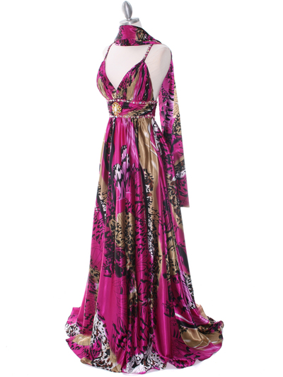 8042 Fuschia Printed Evening Dress - Fuschia Printed, Alt View Medium