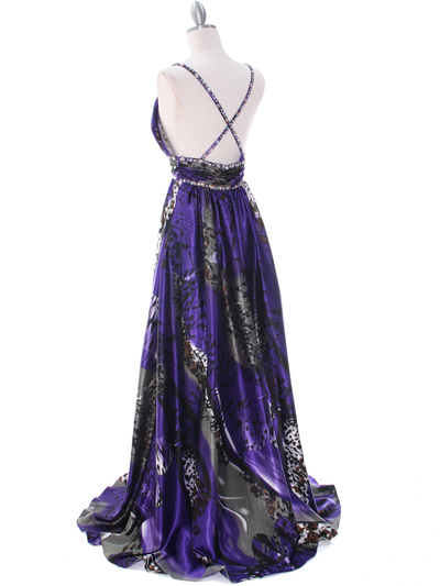 8042 Purple Printed Evening Dress - Purple Printed, Back View Medium