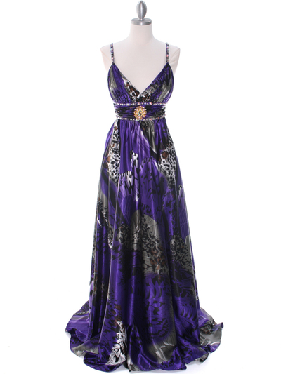 8042 Purple Printed Evening Dress - Purple Printed, Front View Medium
