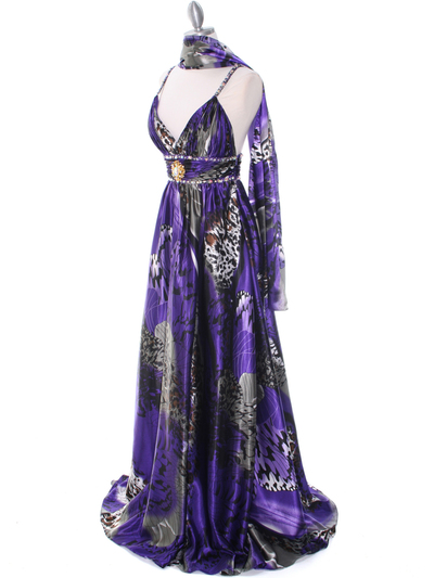 8042 Purple Printed Evening Dress - Purple Printed, Alt View Medium