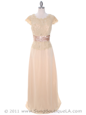 Gold Lace Top Evening Dress - Front Image
