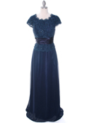 Navy Lace Top Evening Dress