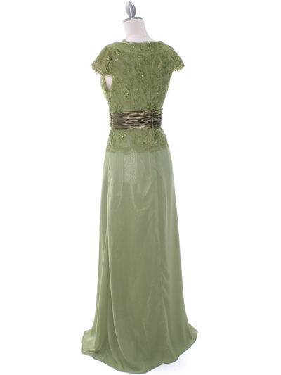 8050 Olive Lace Top Evening Dress - Olive, Back View Medium