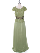 Olive Lace Top Evening Dress