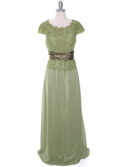 8050 Olive Lace Top Evening Dress - Olive, Front View Medium