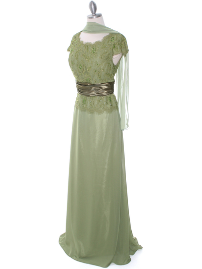 8050 Olive Lace Top Evening Dress - Olive, Alt View Medium