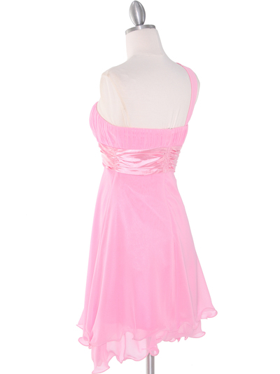 8064 Pink One Shoulder Vertical Pleated Bridesmaid Dress - Pink, Back View Medium