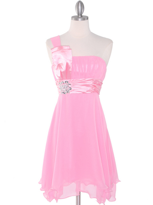 8064 Pink One Shoulder Vertical Pleated Bridesmaid Dress, Pink
