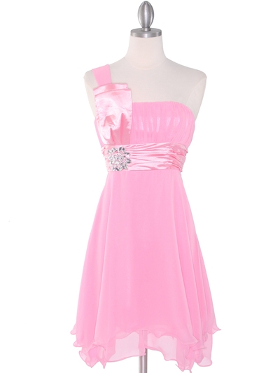 8064 Pink One Shoulder Vertical Pleated Bridesmaid Dress - Pink, Front View Medium