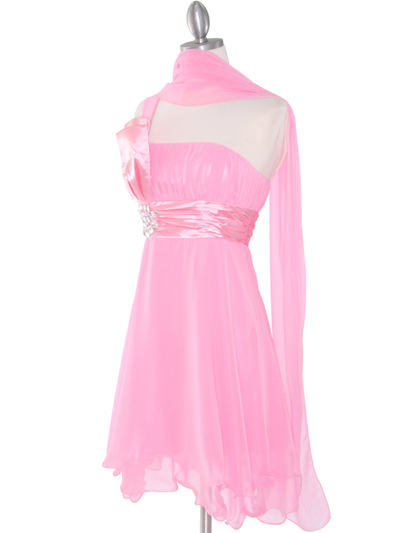 8064 Pink One Shoulder Vertical Pleated Bridesmaid Dress - Pink, Alt View Medium