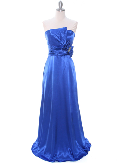 8067 Royal Blue Charmeuse Bridesmaid Evening Dress - Royal Blue, Front View Medium