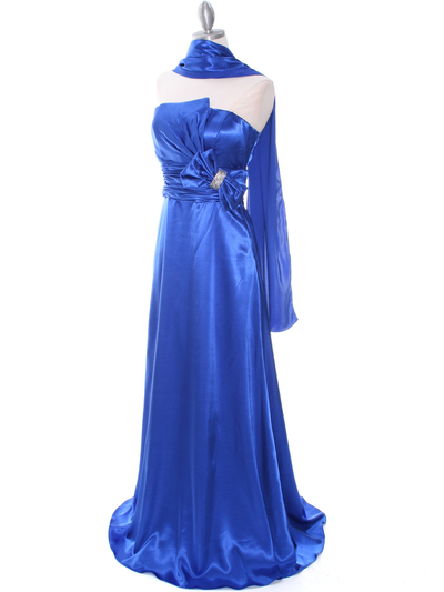 8067 Royal Blue Charmeuse Bridesmaid Evening Dress - Royal Blue, Alt View Medium