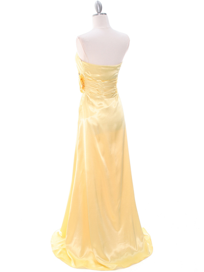 8067 Yellow Charmeuse Bridesmaid Evening Dress - Yellow, Back View Medium