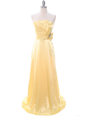 8067 Yellow Charmeuse Bridesmaid Evening Dress, Yellow