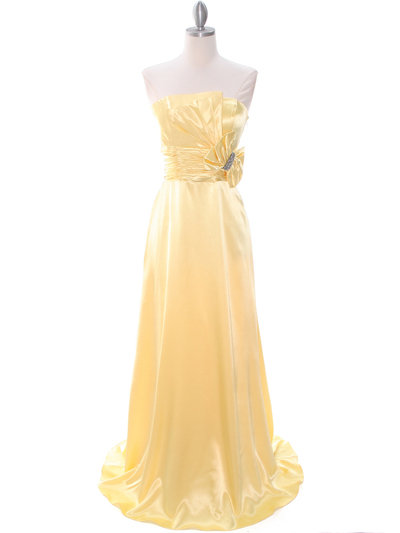 8067 Yellow Charmeuse Bridesmaid Evening Dress - Yellow, Front View Medium