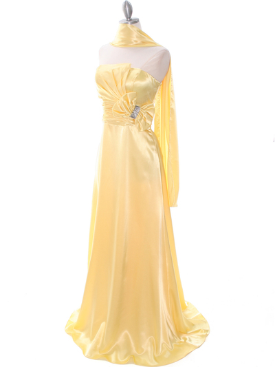 8067 Yellow Charmeuse Bridesmaid Evening Dress - Yellow, Alt View Medium