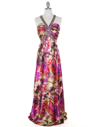 8080 Purple Print Halter Prom Evening Dress - Purple Print, Front View Medium