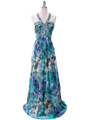 8080  Teal Print Halter Prom Evening Dress - Front Image