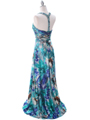 Teal Print Halter Prom Evening Dress - Back Image