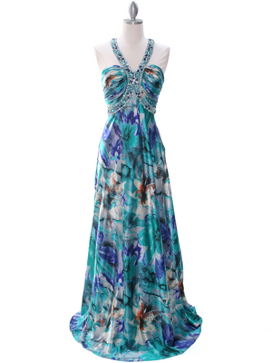 Teal Print Halter Prom Evening Dress - Front Image