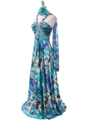 Teal Print Halter Prom Evening Dress - Alt Image