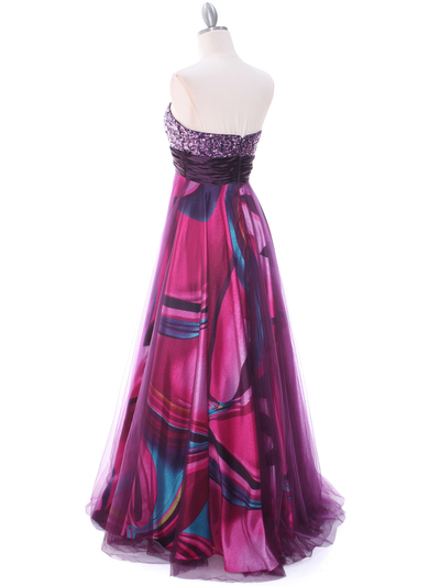 8088 Purple Print Mesh Sequins Top Prom Evening Dress - Purple, Back View Medium