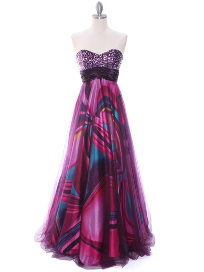 8088 Purple Print Mesh Sequins Top Prom Evening Dress - Purple, Front View Medium
