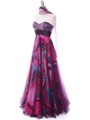 Purple Print Mesh Sequins Top Prom Evening Dress - Alt Image