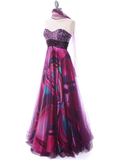 8088 Purple Print Mesh Sequins Top Prom Evening Dress - Purple, Alt View Medium