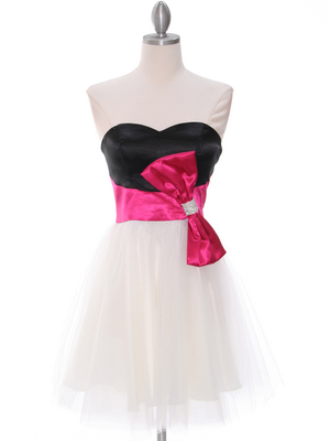 8104 Black/Fuschia Homecoming Dress with Bow, Black Fuschia