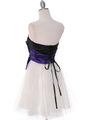 8104 Black/Purple Homecoming Dress with Bow - Black Purple, Back View Thumbnail
