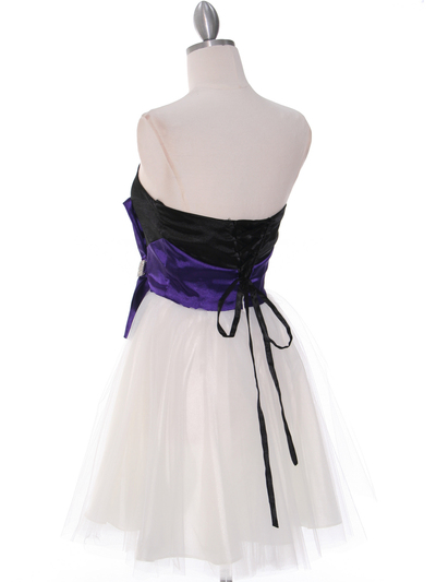 8104 Black/Purple Homecoming Dress with Bow - Black Purple, Back View Medium