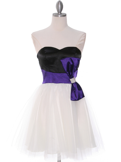 8104 Black/Purple Homecoming Dress with Bow - Black Purple, Front View Medium