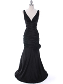 Black Stretch Taffeta Evening Dress