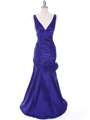 8112 Purple Stretch Taffeta Evening Dress - Purple, Front View Thumbnail