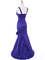 8112 Purple Stretch Taffeta Evening Dress - Purple, Back View Thumbnail