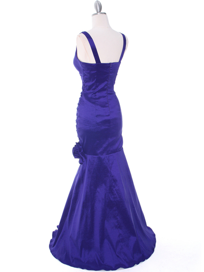 8112 Purple Stretch Taffeta Evening Dress - Purple, Back View Medium