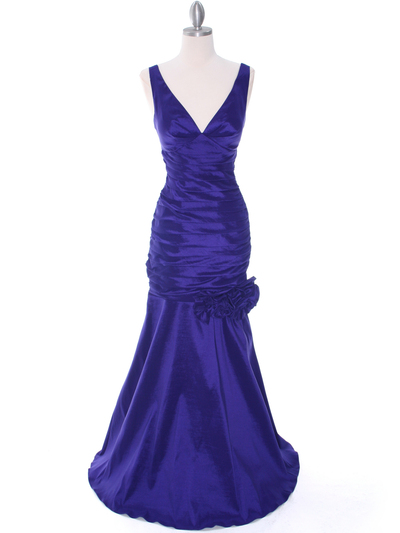 8112 Purple Stretch Taffeta Evening Dress - Purple, Front View Medium