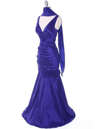 8112 Purple Stretch Taffeta Evening Dress - Purple, Alt View Medium