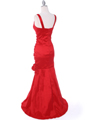 8112  Red Stretch Taffeta Evening Dress - Back Image