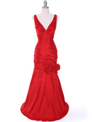 Red Stretch Taffeta Evening Dress