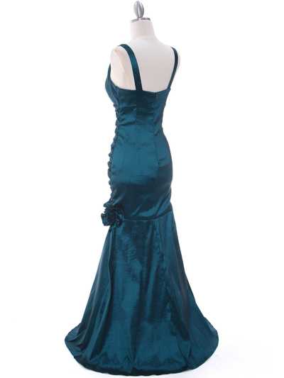 8112 Teal Stretch Taffeta Evening Dress - Teal, Back View Medium