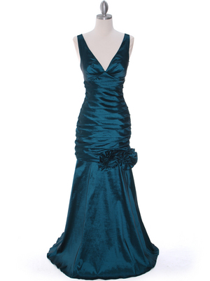 8112 Teal Stretch Taffeta Evening Dress, Teal