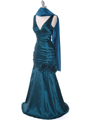 8112 Teal Stretch Taffeta Evening Dress - Teal, Alt View Thumbnail