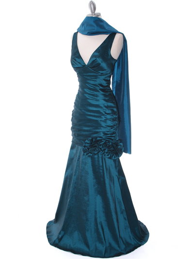 8112 Teal Stretch Taffeta Evening Dress - Teal, Alt View Medium