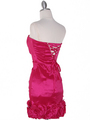 8118 Teffeta Cocktail Dress with Rosette Hem - Fuschia, Back View Thumbnail